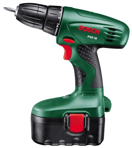 bosch psr 18 cordless nicad drill driver with 2 x 18 v batteries 1 2 ah the tool trader. Black Bedroom Furniture Sets. Home Design Ideas